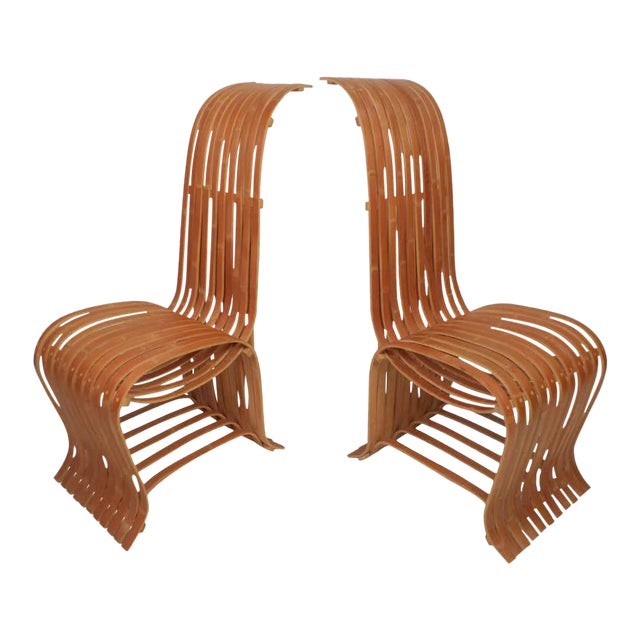 Pair of Vintage Wood-Slat Chairs For Sale
