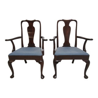Kittinger Richmond Hill Collection Mahogany Queen Ann Dining Arm Chairs - a Pair