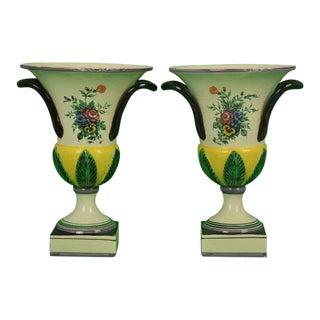 Pair of Italian Majolica Floral Urns