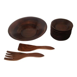 Mid-Century Walnut Wood Salad Serving Set