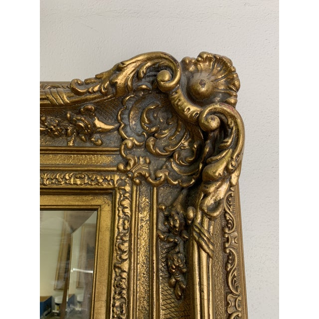 Glass Louis XIV Style Gold Leaf Beveled Glass Mirror For Sale - Image 7 of 11