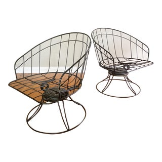 1960's Mid Century Homecrest Black Wire Patio Chairs-A Pair For Sale