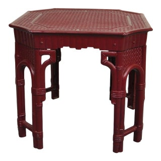 Faux-Bamboo Accent Table For Sale