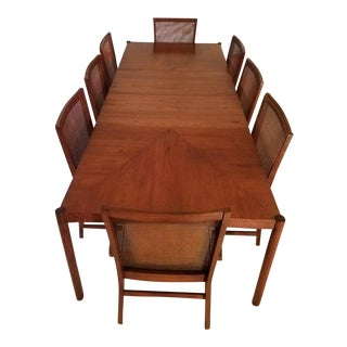 Danish Mid-Century Modern Dining Room Table With Chairs - Set of 9