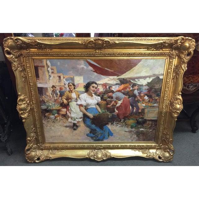Blue Witman Etelka Vizkeleti Oil Painting Market Scene For Sale - Image 8 of 8