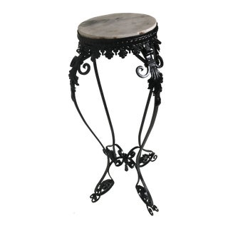 Depression Era Scrolled Metal and Marble Tall Narrow Plant Stand For Sale