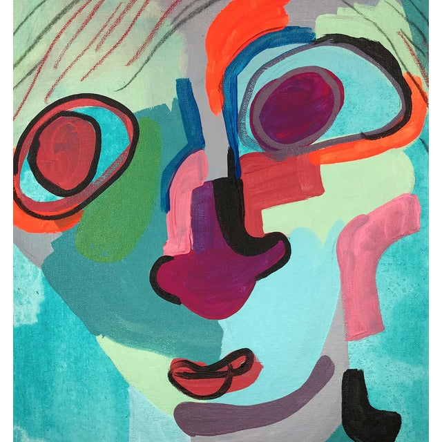 """Contemporary Abstract Portrait Painting """"Kooky Awesome, No. 2"""" For Sale In Detroit - Image 6 of 7"""
