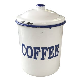 Vintage Blue & White Enamel Coffee Caddy Canister For Sale