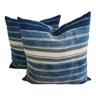 African Striped Mudcloth Pillows - A Pair