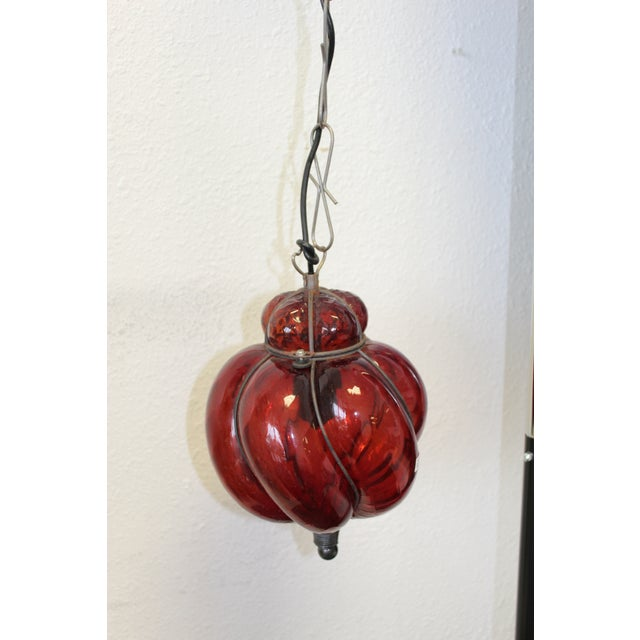 Vintage Late 20th Century Italian Glass Hanging Lantern For Sale - Image 4 of 9