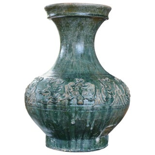 Han Dynasty Hu Green Glazed Mythical Beasts Vessel For Sale