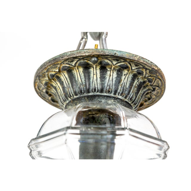 Boho Chic Flush Mount Lantern With Antique Amethyst Glass & Metal For Sale - Image 3 of 12