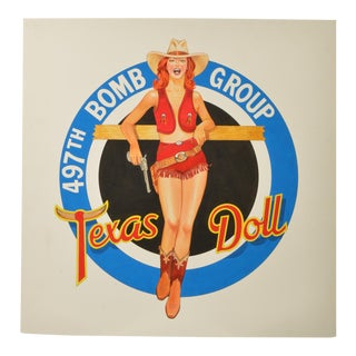 Texas Doll Bomber Pinup Original Illustration Art For Sale