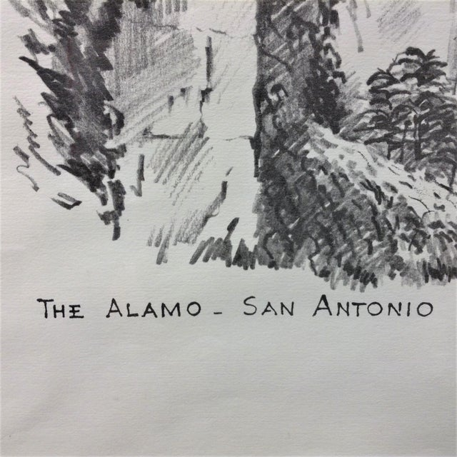 Vintage Alamo Drawing by Edward Bearden For Sale - Image 4 of 7