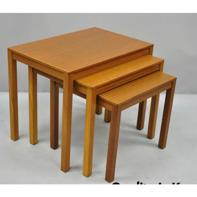 1960s Mid Century Modern Bent Silberg Teak Nesting Stacking Side Tables - Set of 3 For Sale - Image 10 of 10