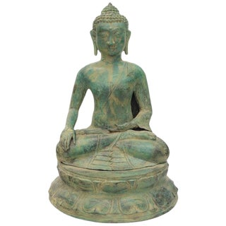 Bronze Buddha Sculpture Green Patina For Sale