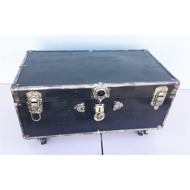 Industrial Upcycled WWII Trunk on Wheels For Sale - Image 3 of 9