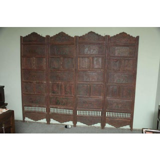Large Four-Panel Teak Wood Early 20th Century Floor Screen With Carved Animals Preview