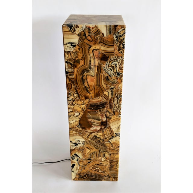 1970s Muller of Mexico Modern Lighted Onyx Pedestal For Sale - Image 11 of 11