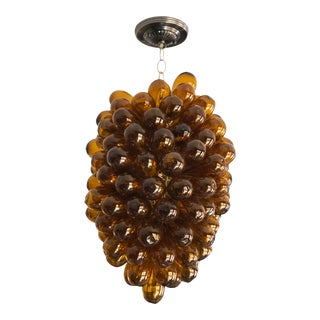Golden Topaz Color Light Fixture of Handblown Recycled Glass For Sale
