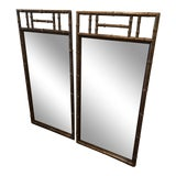 Image of Faux Bamboo Mirrors With Tortoise Shell Finish - a Pair For Sale