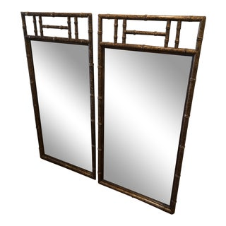 Faux Bamboo Mirrors With Tortoise Shell Finish - a Pair For Sale