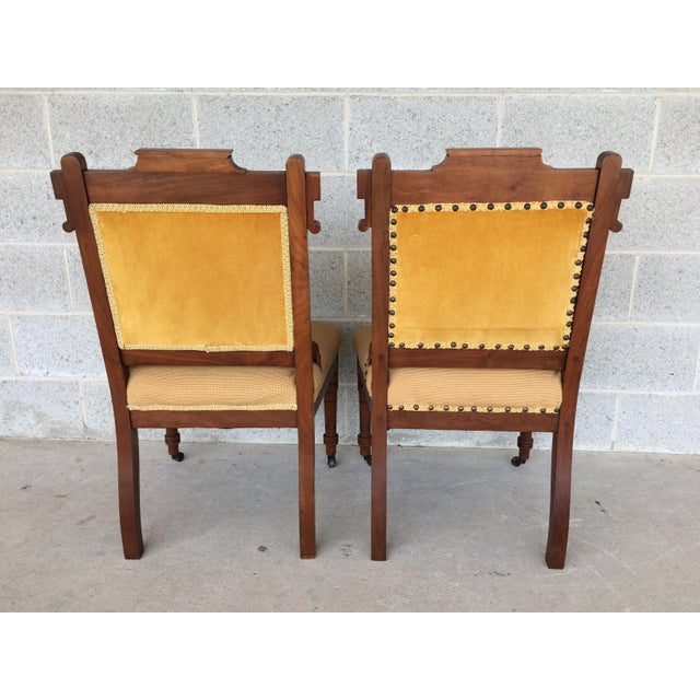 Pair of Victorian Eastlake Needle Point His & Hers Accent Chairs For Sale - Image 9 of 11
