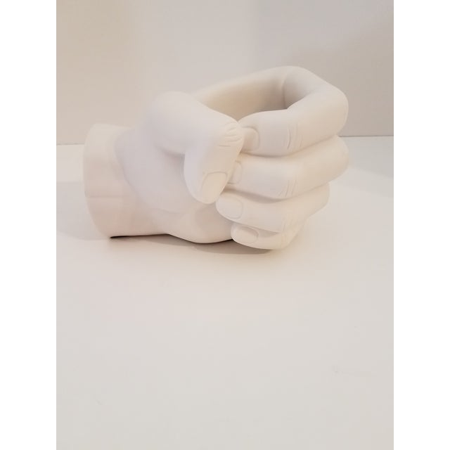 2000 - 2009 Alabaster Opaque White Human Hand Votive Candle Holder For Sale - Image 5 of 5