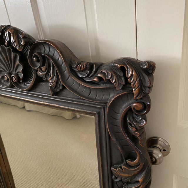 Rococo Large Carved Wall Mirror For Sale - Image 3 of 6