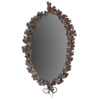 Wrought Iron Mirror With Leaf Motif For Sale