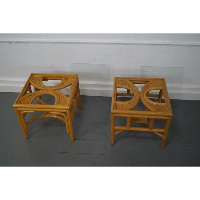 Brown Rattan Bamboo Square Glass Top Low Tables - Pair For Sale - Image 8 of 9