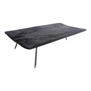Wide Plank Ebonized Coffee Table with Three Iron and Bronze Legs For Sale