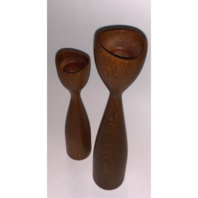 Beautiful set of vintage teak candle holders. Both in excellent condition with no major nicks or dents noted. Originally I...