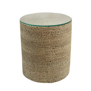 Round Seagrass Rope Side Table For Sale