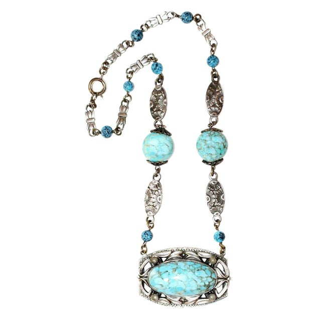 1920s Silver-Plated Turquoise Glass Necklace, Art Nouveau Design For Sale