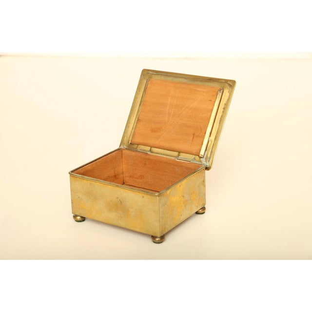 Wmf Art Deco German Hand Hammered Brass/ Wood Box For Sale In Miami - Image 6 of 6