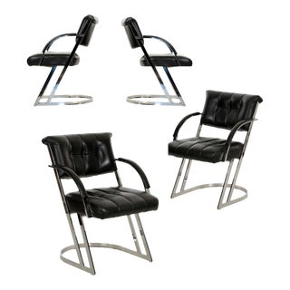 Modern Chrome Steel & Leather Cantilever Dining Chairs - Set of 4 For Sale
