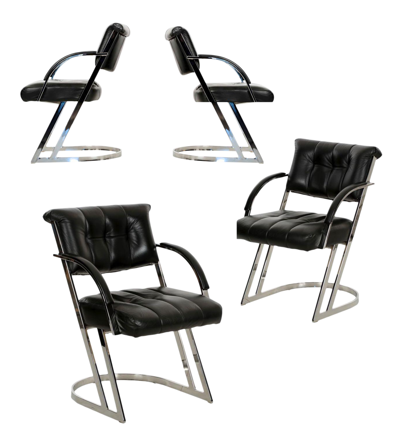 Modern Chrome Steel U0026 Leather Cantilever Dining Chairs   Set Of 4   Image 1  Of
