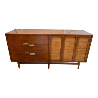 1950s Mid Century Modern American of Martinsville Walnut and Aluminum Inlaid Credenza For Sale