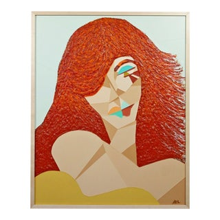 Contemporary Framed Acrylic Impasto Collage Painting Red Headed Woman Signed For Sale