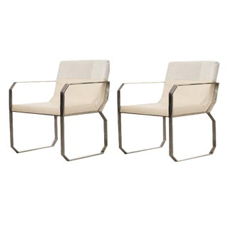 Contemporary Cream Leather Dining Chairs - a Pair