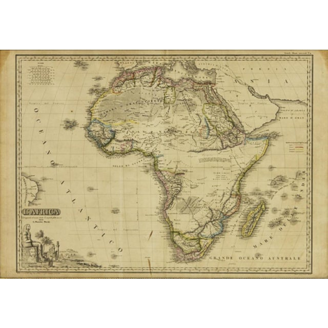 Framed Antique Italian map of Africa, printed and hand colored. Wood frame with gold beading adds character to vintage map...