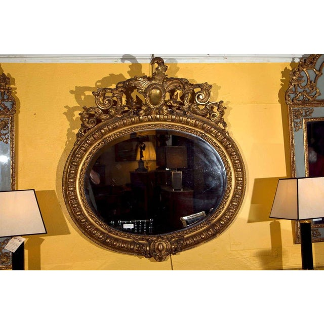 Baroque Vintage French Giltwood Mirror For Sale - Image 3 of 6