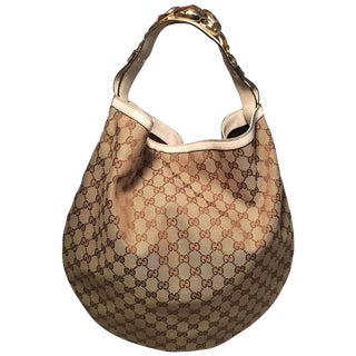 Gucci Gg Monogram Canvas and Beige Leather Hobo Shoulder Bag For Sale
