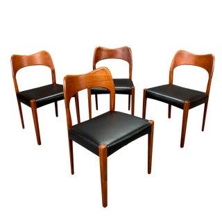 Vintage Mid Century Modern Arne Hovmand Olsen for Mogens Kold Danish Teak Dining Chairs- Set of 4 For Sale