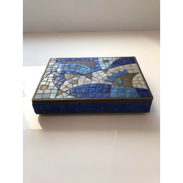 Salvador Teran 1960s Vintage Salvador Teran Mexican Modernist Brass and Glass Mosaic Box For Sale - Image 4 of 11