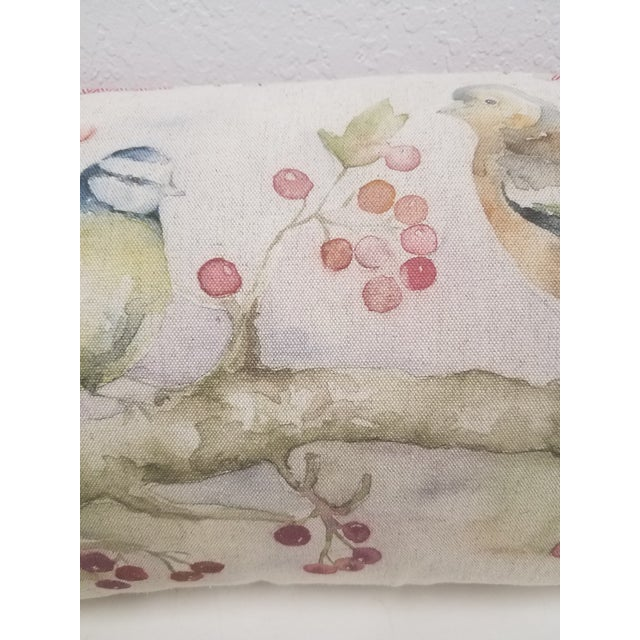Antique White Two Birds With Berries Pillow - Made in Wales For Sale - Image 8 of 11