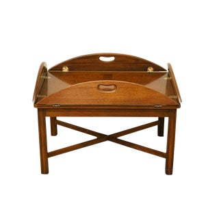 """20th Century Traditional Style Solid Mahogany 40"""" Butler's Coffee Table For Sale"""