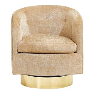 Milo Baughman for Thayer Coggin Swivel Chair Brass Base, Circa 1970 For Sale