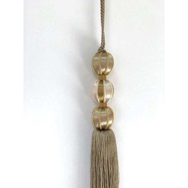 Light Gray Gold Beaded Key Tassel- H 7.5 Inches For Sale - Image 8 of 10